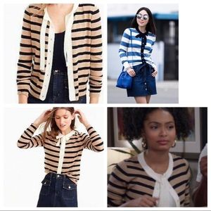 J. Crew Jackie Tie Neck Striped Cardigan sweater